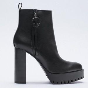 Zara black leather heeled chunky boots 2021